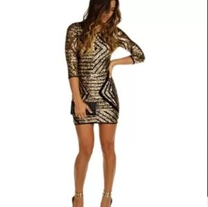 Windsor Gold Sequin Geometric Fitted Dress 3330